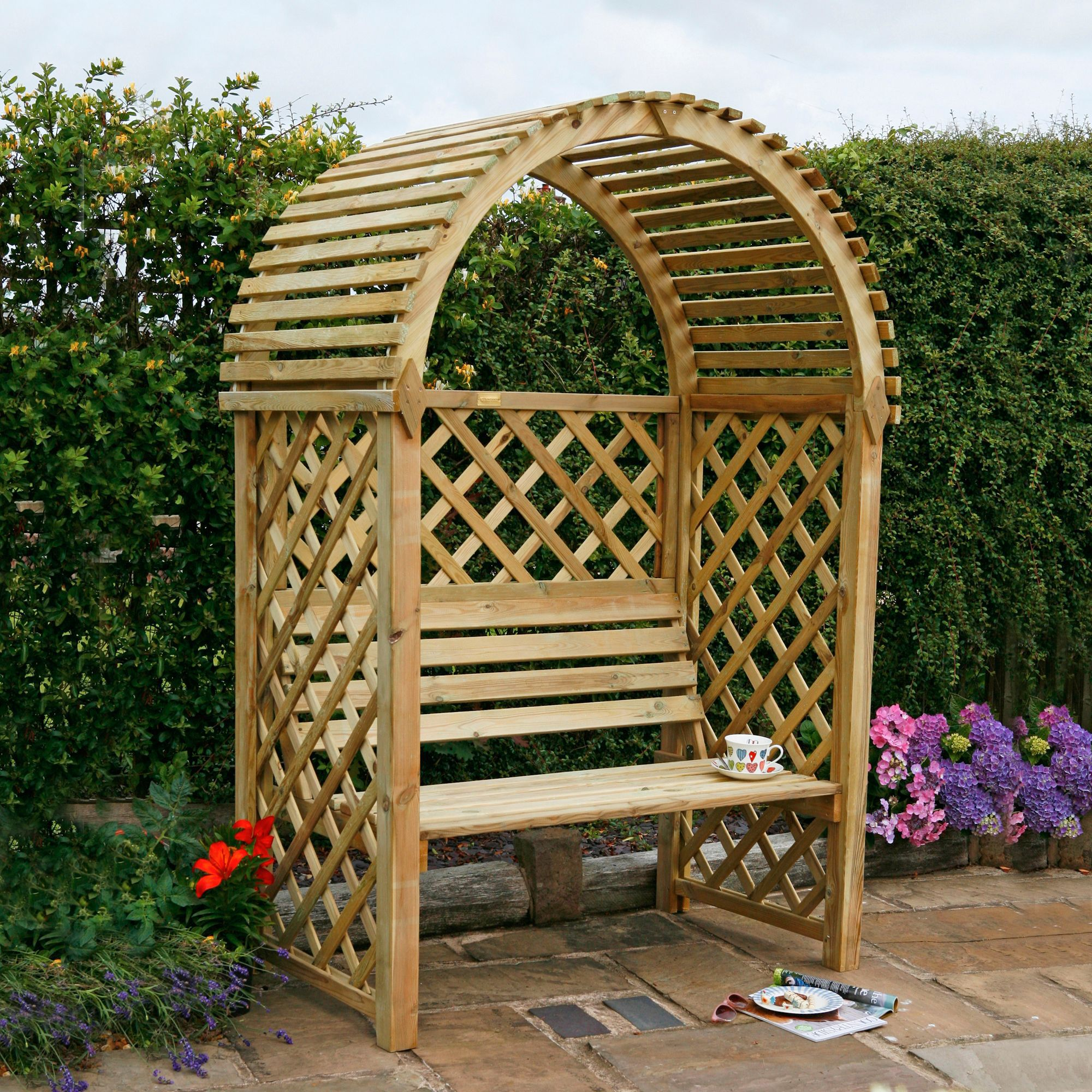 Blooma Softwood Arbour With assembly service | Departments ...