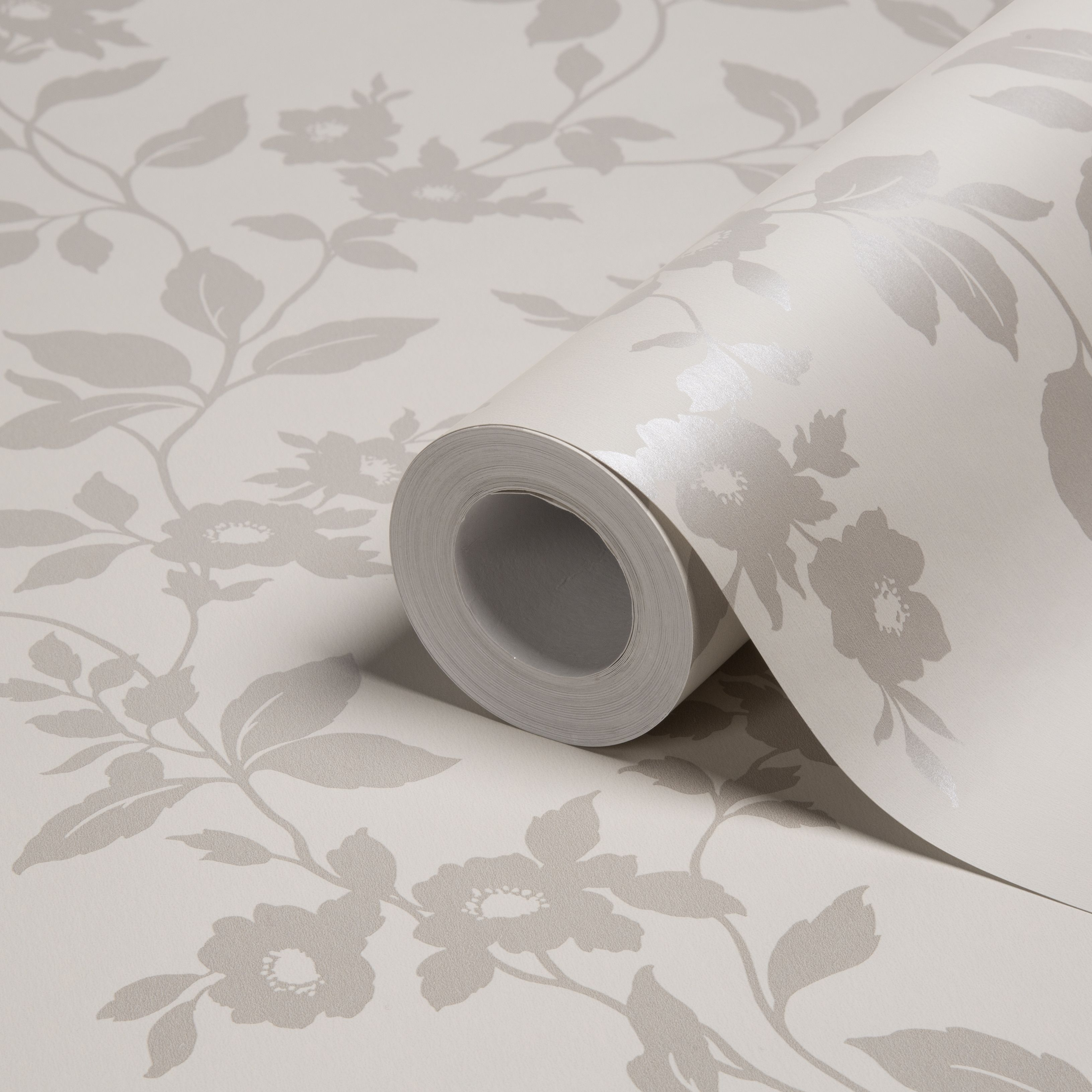 Colours Mayflower Silver Effect Floral Mica Effect Wallpaper ...