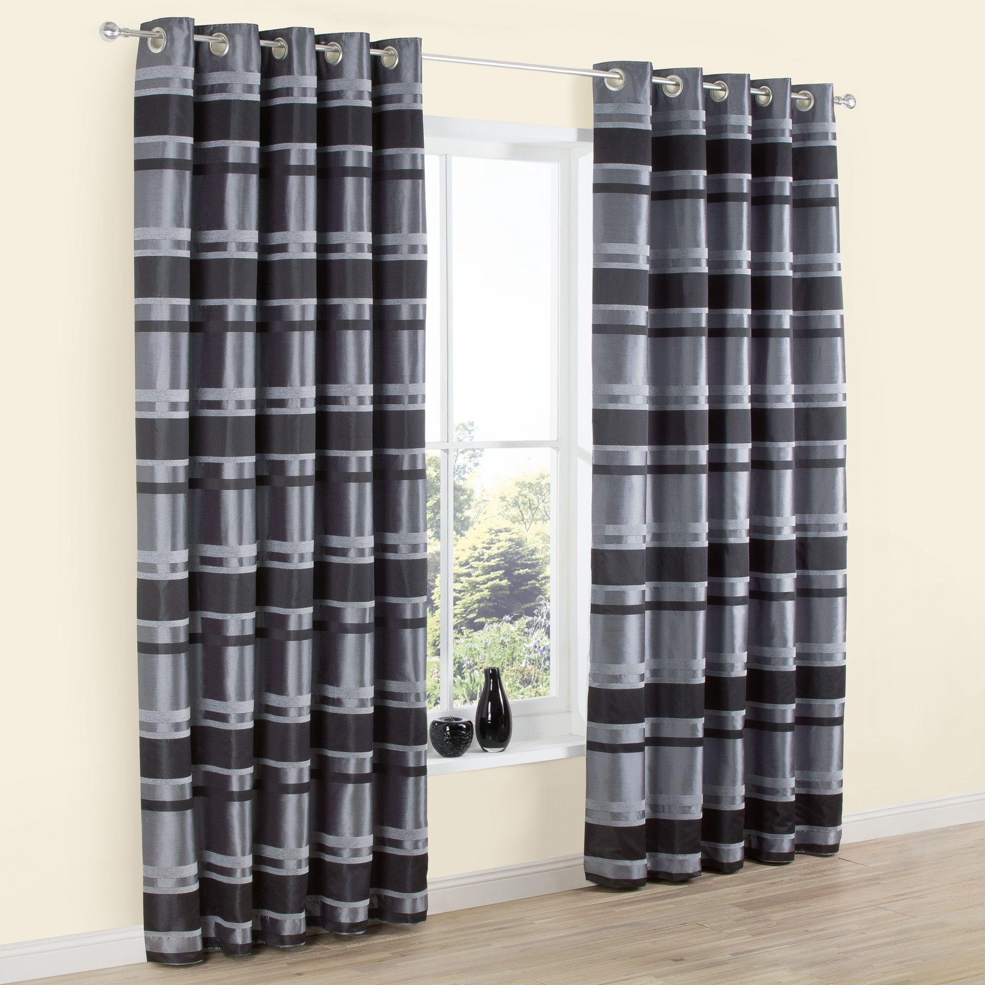 Dill Black & Grey Striped Faux Silk Eyelet Lined Curtains (W)228 cm ...