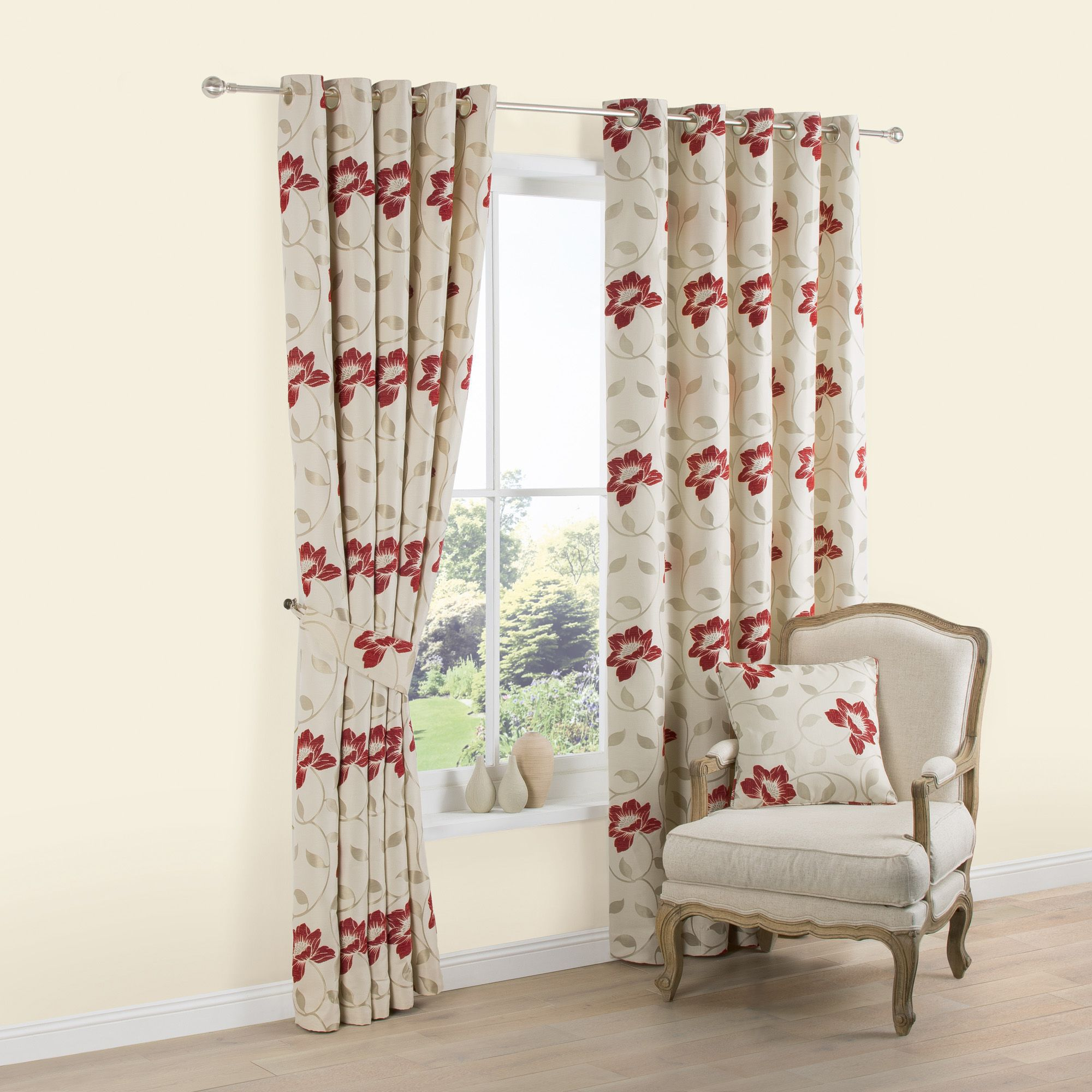 Geranium Cream Red Floral Jacquard Woven Eyelet Lined Curtains W228 Cm L228
