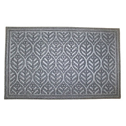 Colours Grey Leaf Jute & Polyester Door Mat