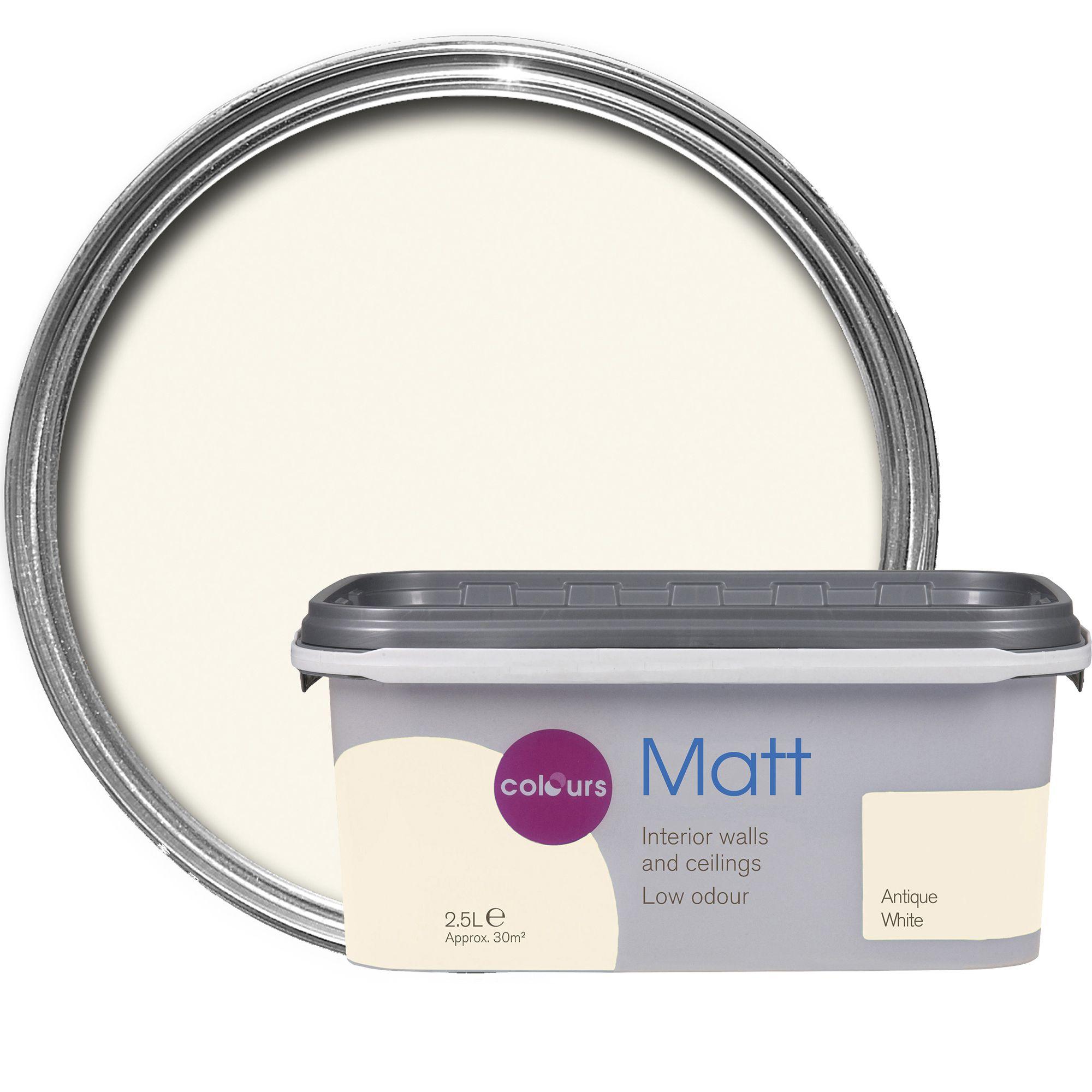Colours Standard Antique White Matt Emulsion Paint 2.5L | Departments | DIY  At Bu0026Q