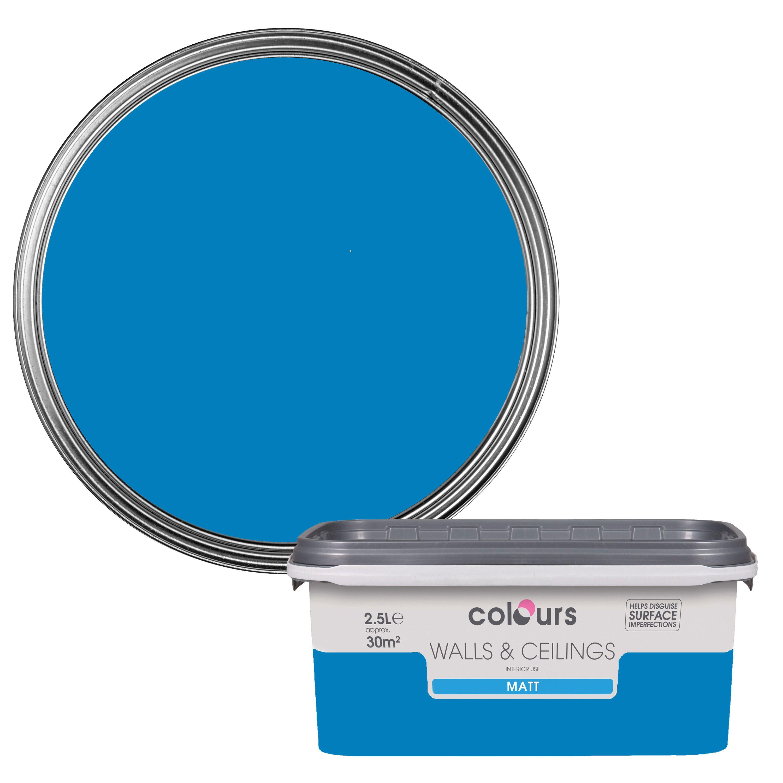 Colours Electric Blue Matt Emulsion Paint 2 5l