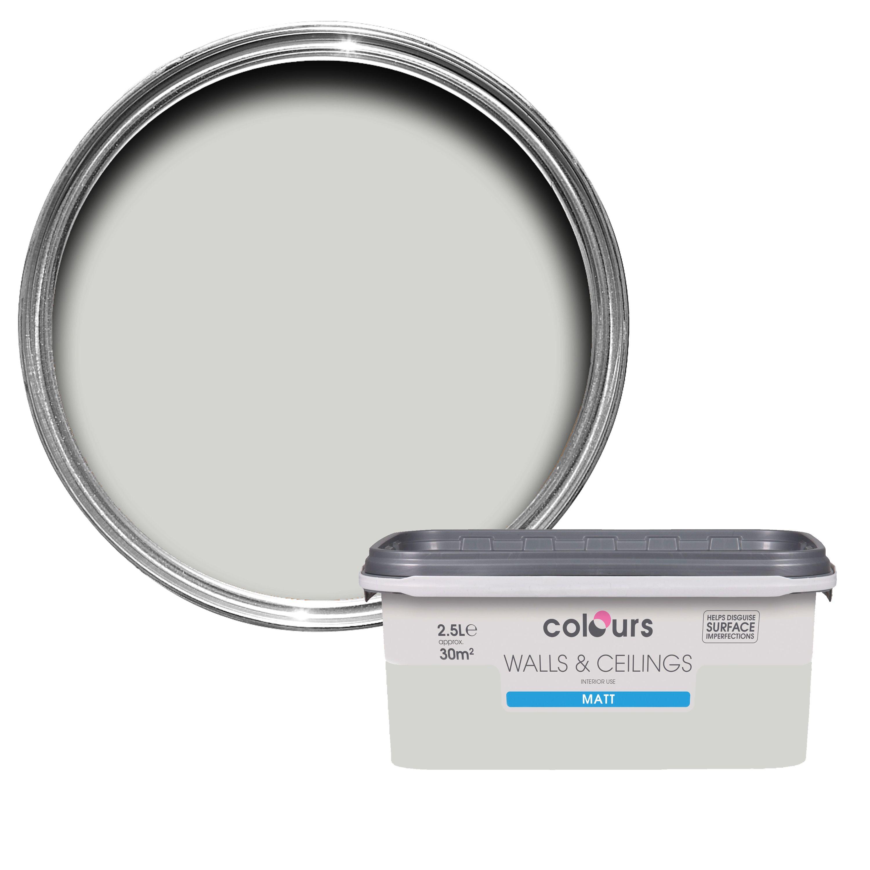 Colours Standard Grey Hints Matt Emulsion Paint 2.5L   Departments   DIY at  B&Q