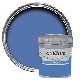 Colours Standard Electric blue Matt Emulsion paint 0.05L