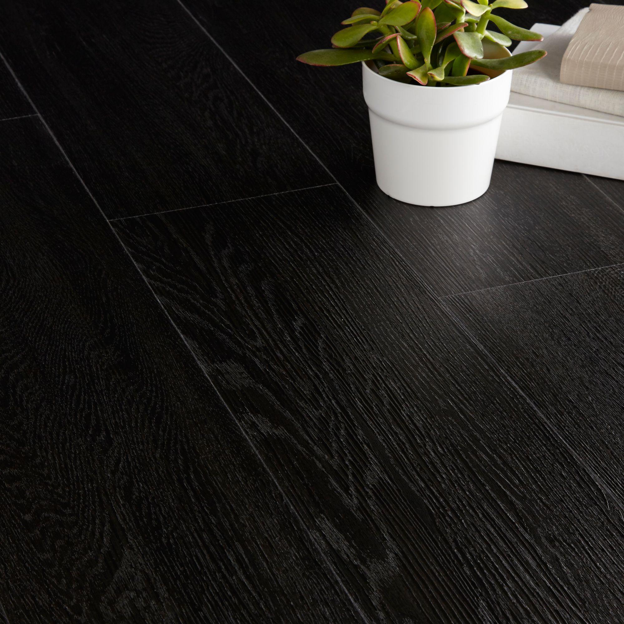 Colours Brown Ebony effect Luxury vinyl click flooring