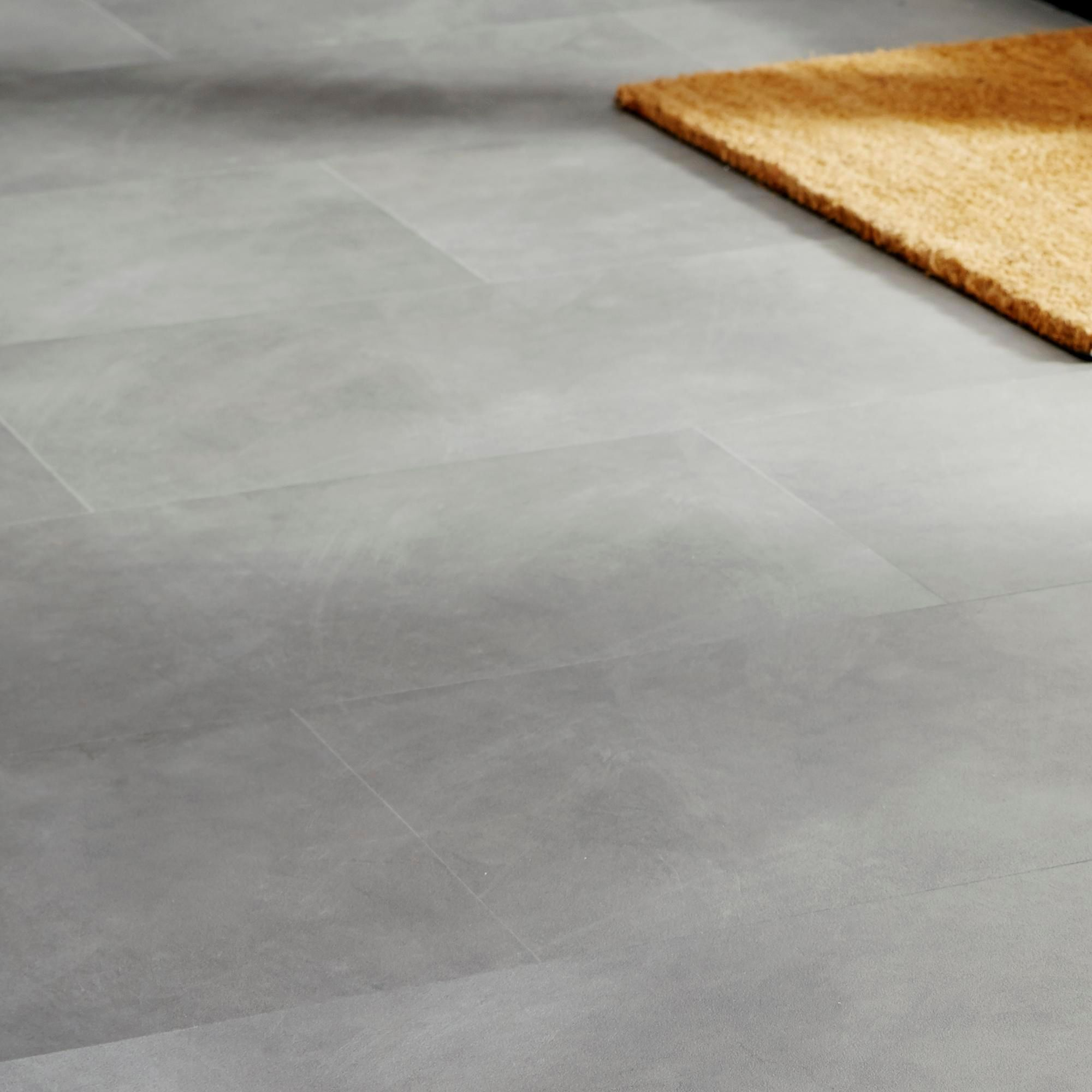 Colours grey stone effect luxury vinyl click flooring for Large vinyl floor tiles