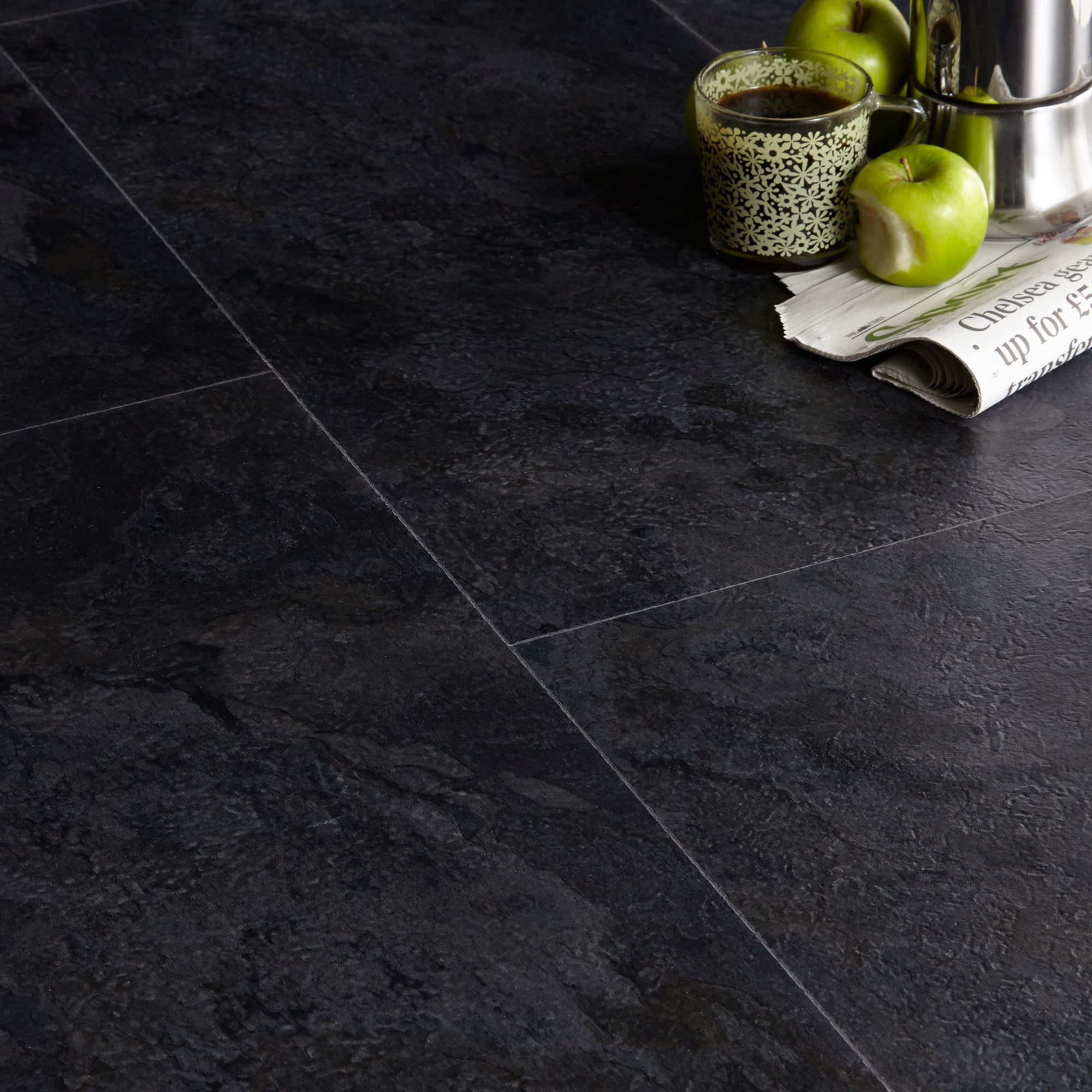 Colours Black Slate effect Luxury vinyl click flooring