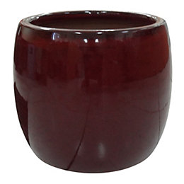 Winterborne Round Glazed Red Pot (H)25cm (Dia)29cm