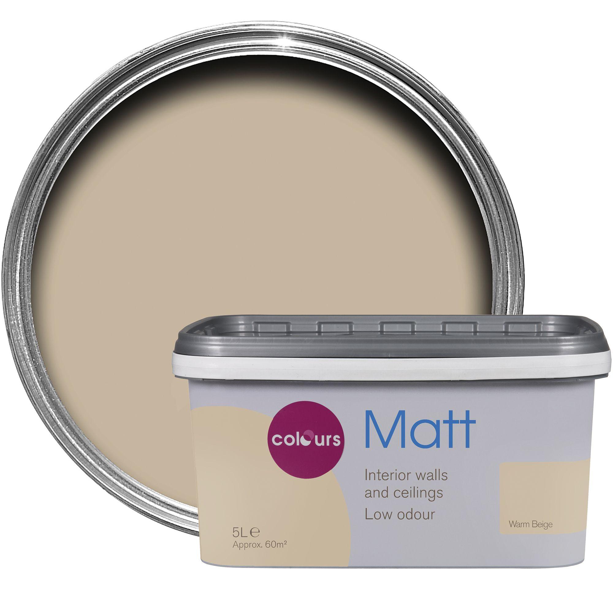 Colours warm beige matt emulsion paint 5l departments for Klebefolie beige matt