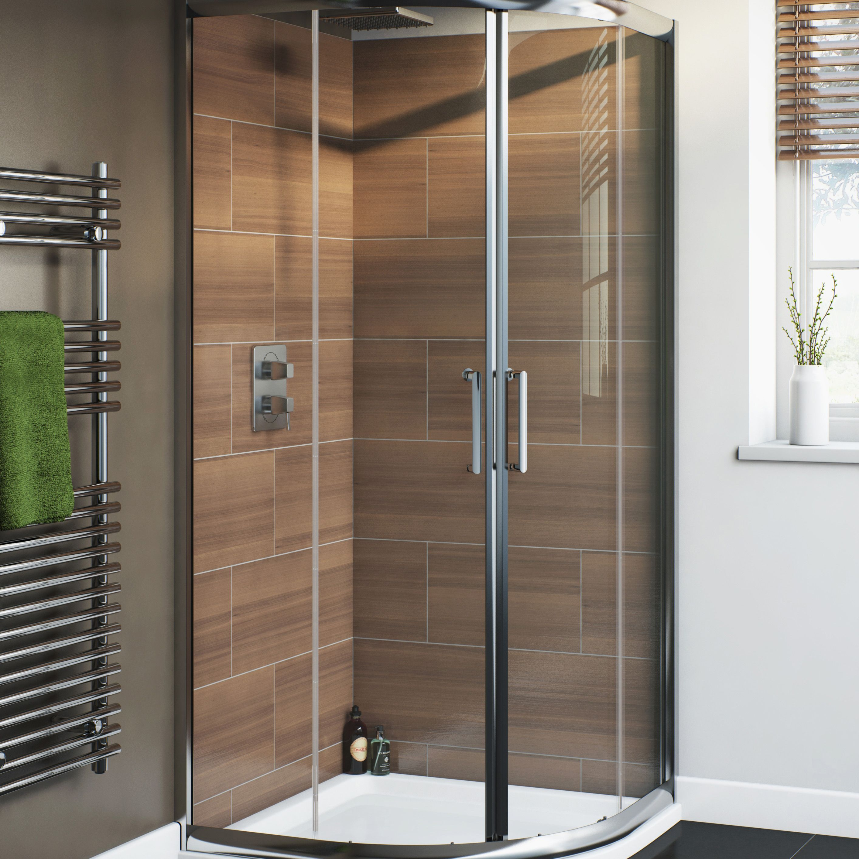 Cooke & Lewis Nadina Quadrant Shower Enclosure, Tray & Waste Pack with  Double Sliding Doors (W)900mm (D)900mm | Departments | DIY at B&Q