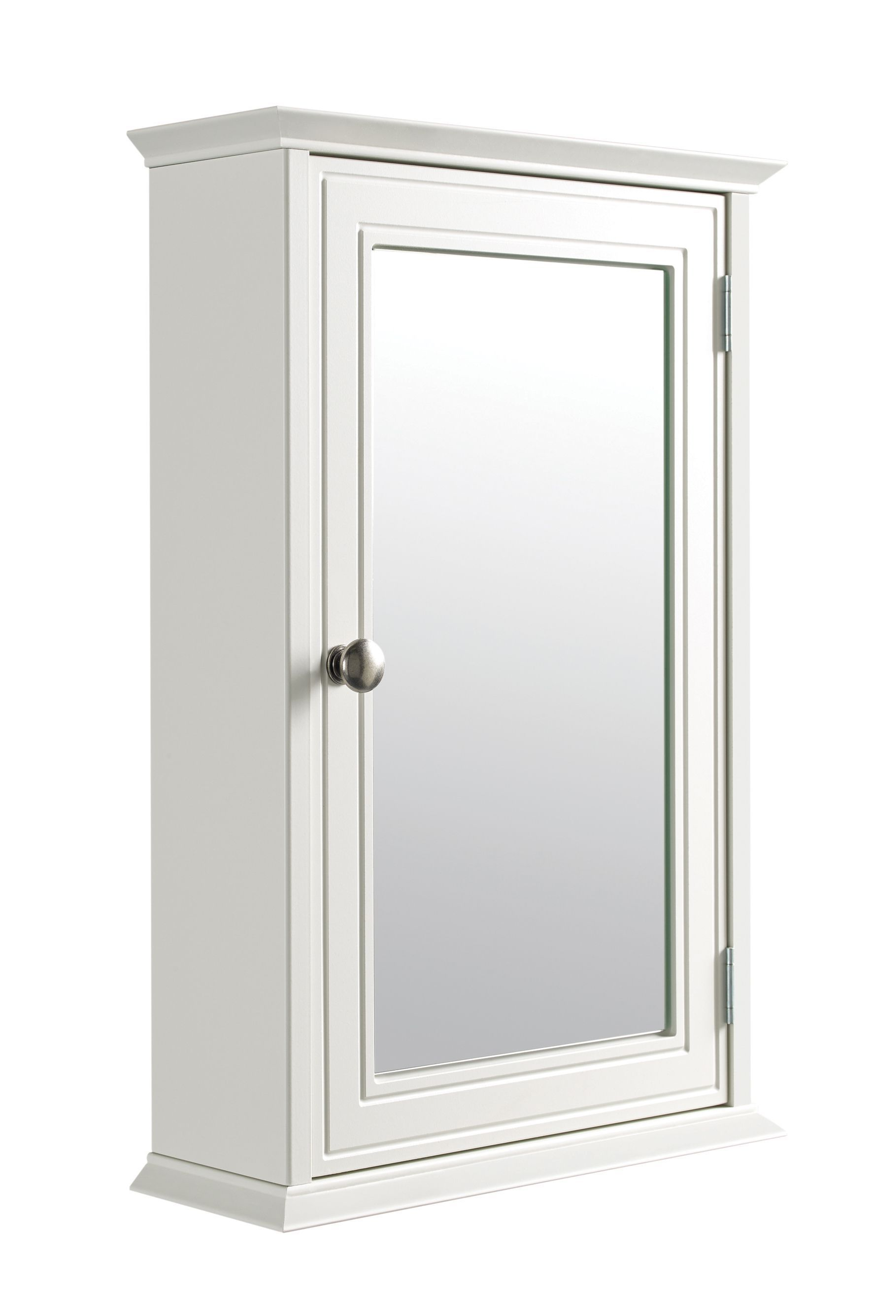 Cooke & Lewis Romano Single Door White Mirror Cabinet | Departments ...