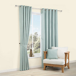 Rowena Duck Egg Striped Woven Eyelet Lined Curtains