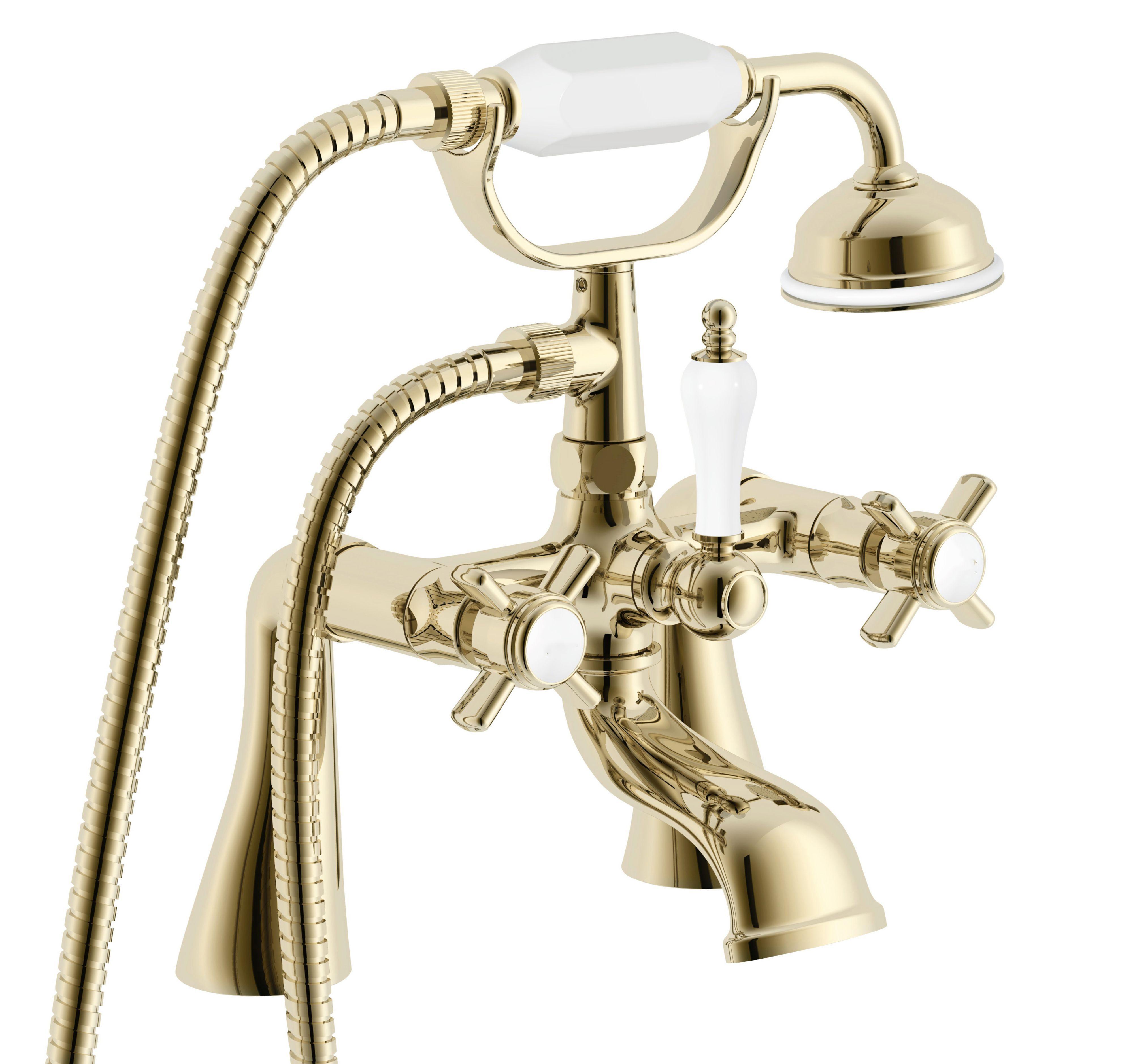 Cooke & Lewis Classic Gold effect Bath shower mixer tap ...