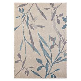 Colours AAliyah Beige & Blue Trailing Leaf Rug