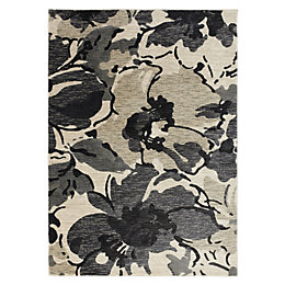 Colours Antonia Beige & Black Floral Rug (L)1.7m