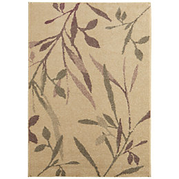 Colours AAliyah Beige & Purple Trailing Leaf Rug
