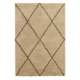 Colours Kitah Cream & Mink Diamond Lines Rug