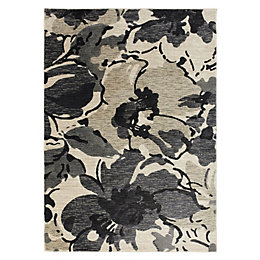 Colours Antonia Beige & Black Floral Rug (L)2.3m
