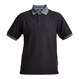 Rigour Black & Grey Polo Shirt Medium