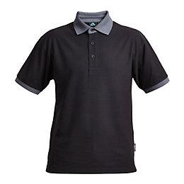 Rigour Black & Grey Polo Shirt Large