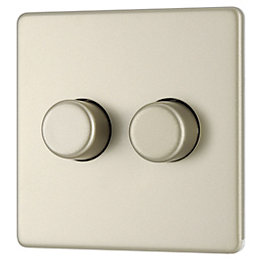 Colours 2-Way Double Pearl Nickel Dimmer Switch