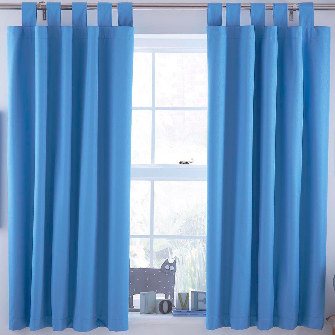 Ardella Blue Plain Tab Top Lined Children S Blackout Curtains W