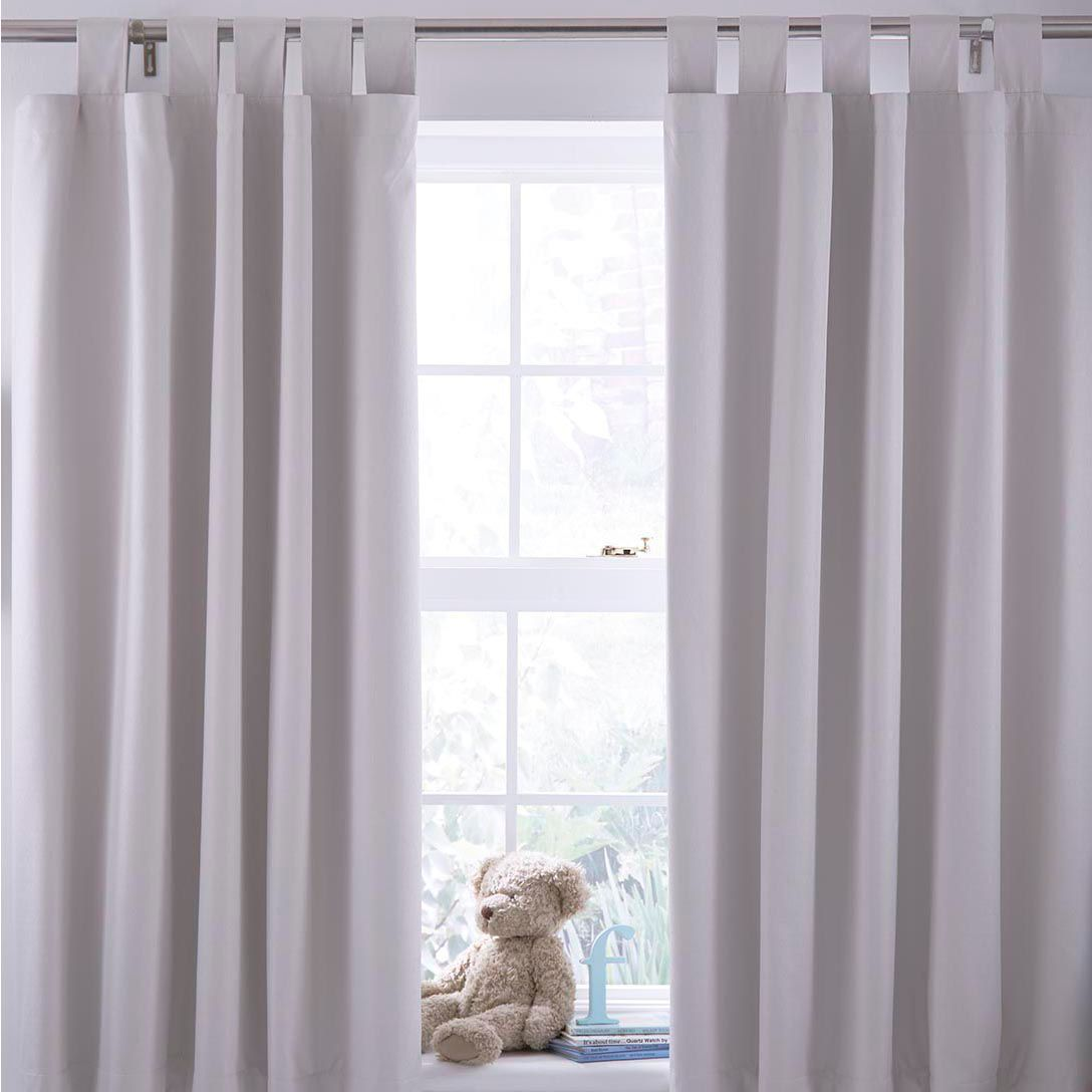 Cream Plain Tab top Blackout Curtains (W)168 cm