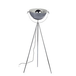 Alboran Tripod Chrome effect Floor lamp
