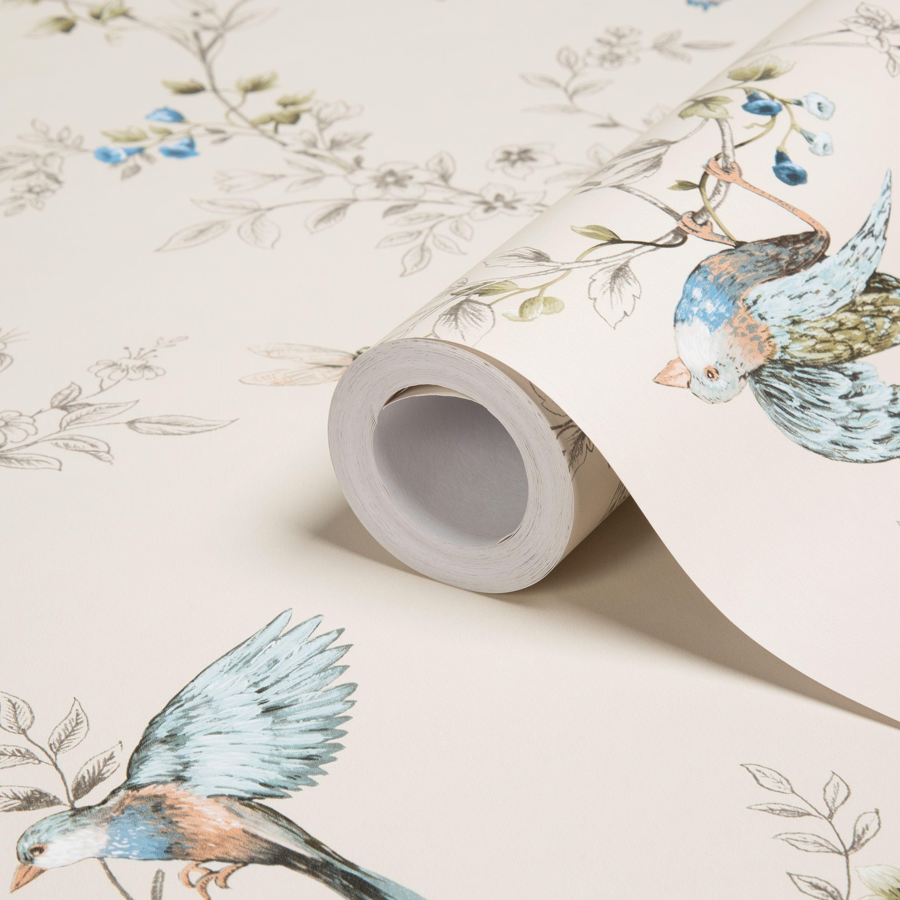 Flower Wall Murals Uk Colours Heligan Cream Birds Mica Effect Wallpaper