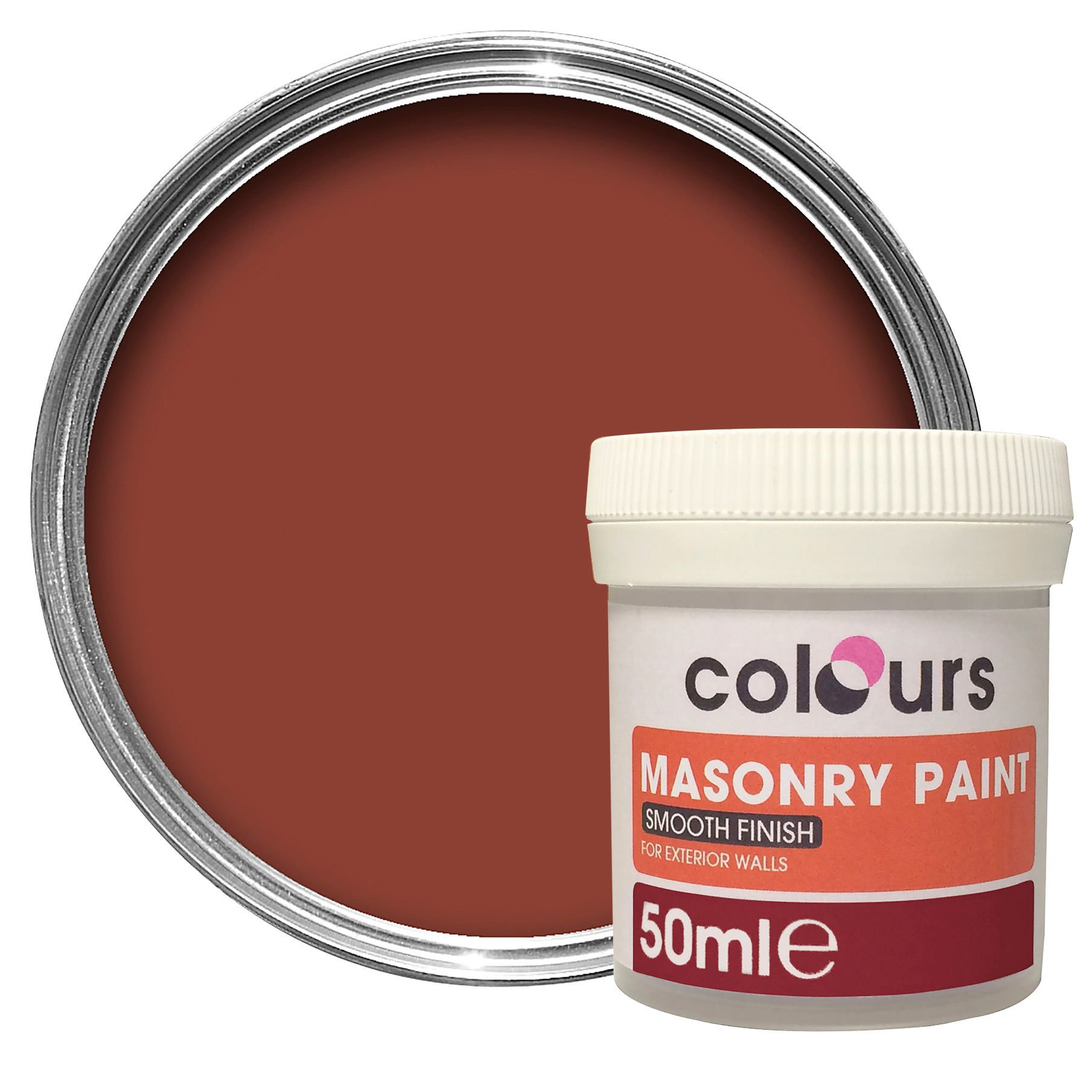 Colours Brick Red Smooth Masonry Paint 005L Tester Pot -