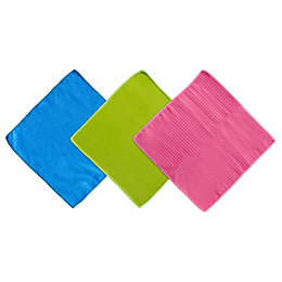 B&Q Microfiber Cleaning Cloth, Pack of 3