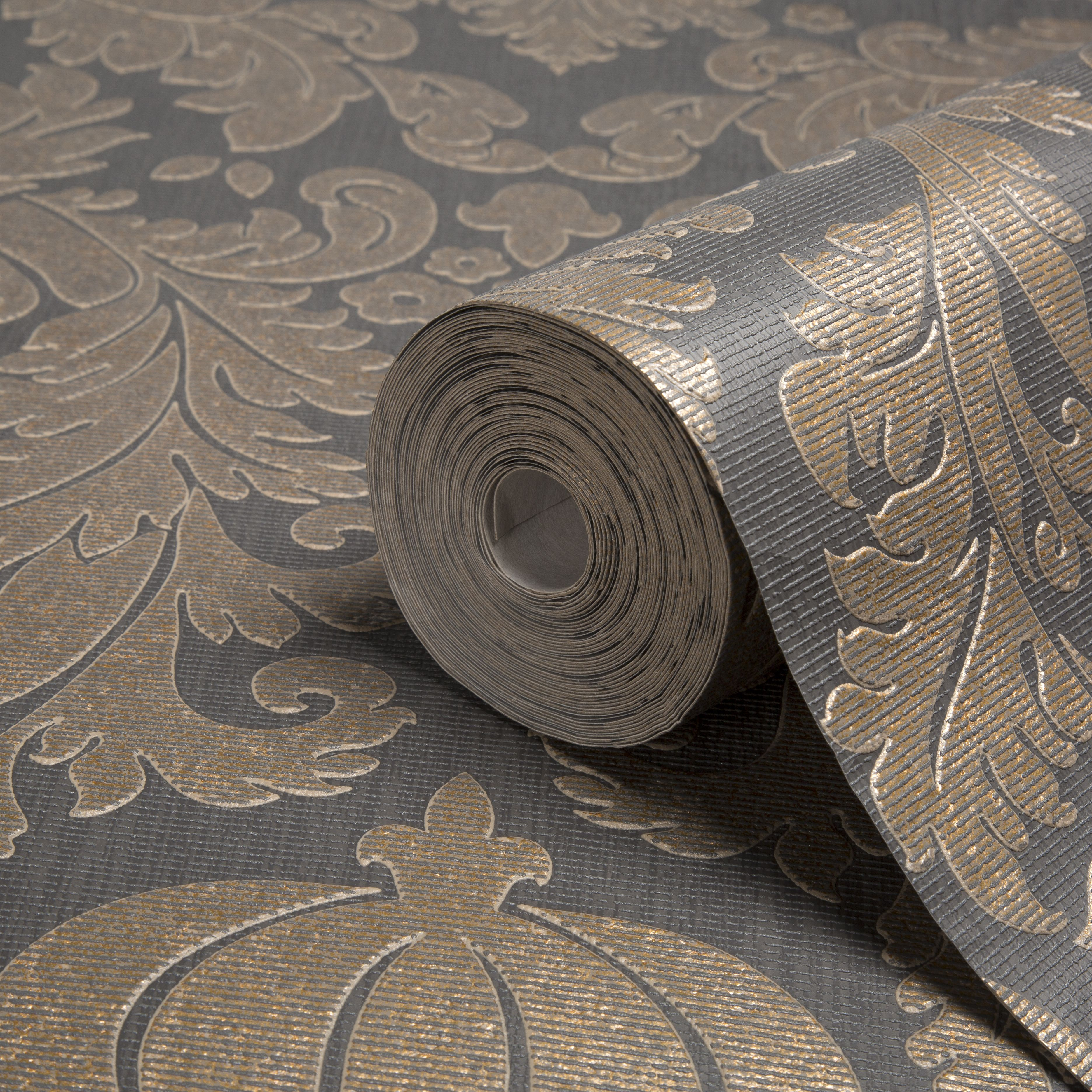 Colours Midas Black Amp Copper Damask Wallpaper