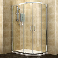 Cooke & Lewis Deluvio Offset quadrant Shower enclosure, tray & waste with Double sliding doors (W)1200mm (D)800mm