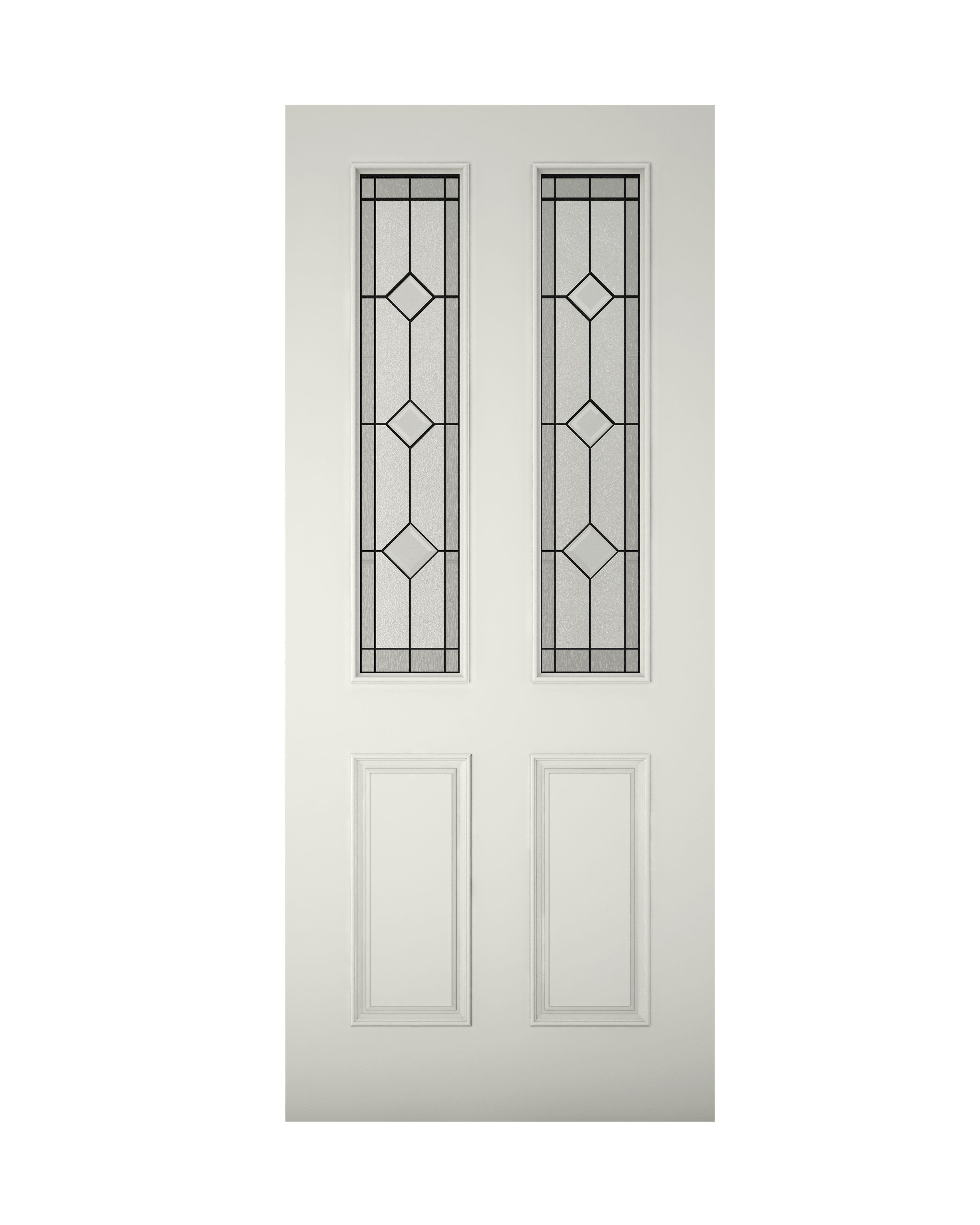 4 Panel Primed Glazed Front Door, (H)1981mm (W)762mm | Departments ...