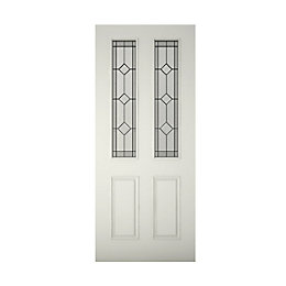 4 Panel Primed Glazed Front Door, (H)1981mm (W)762mm