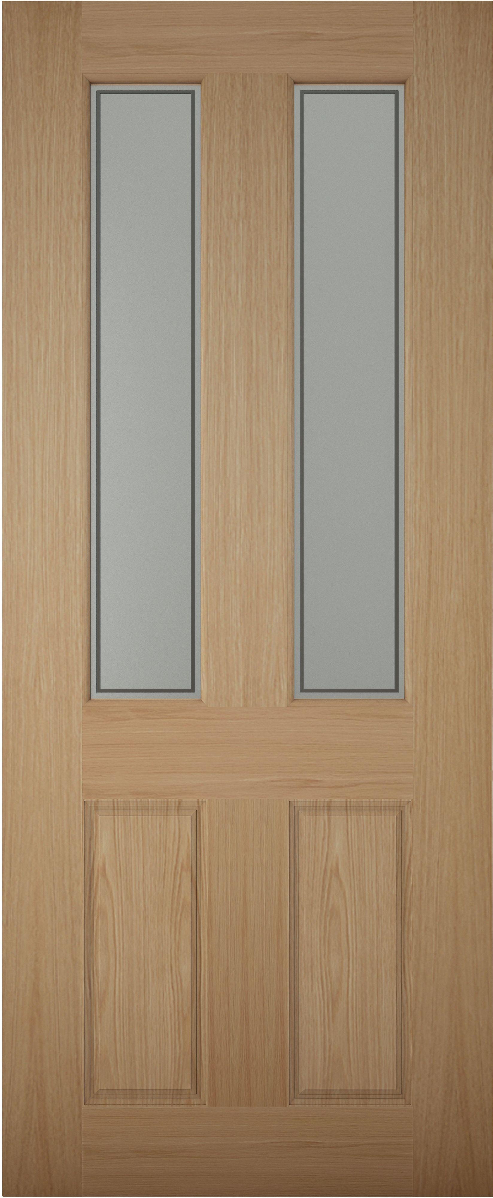 4 panel white oak veneer glazed front door h 1981mm w for Wood veneer garage doors