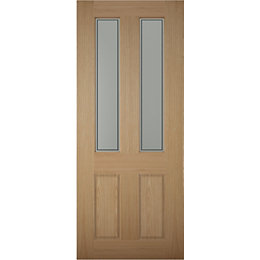 4 Panel White Oak Veneer Glazed Front Door,