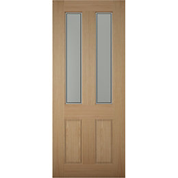 4 panel White oak veneer Glazed External Front