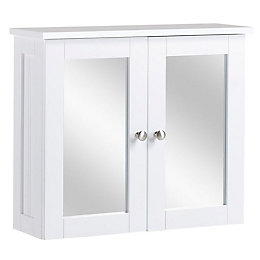 Nicolina Double door White Mirror cabinet