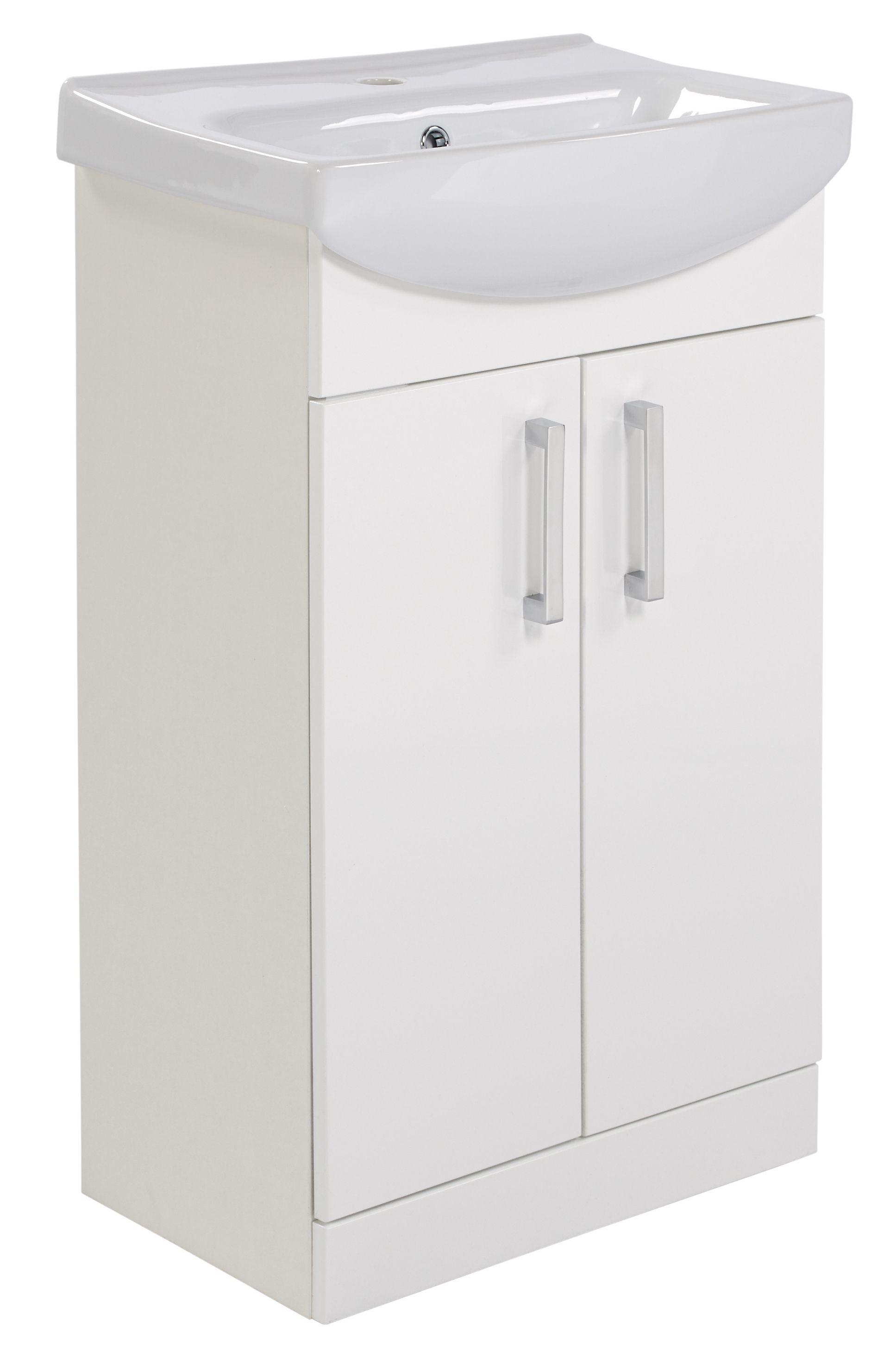 Ardenno Gloss White Vanity Unit Basin Set W 550mm Departments Diy At B Q