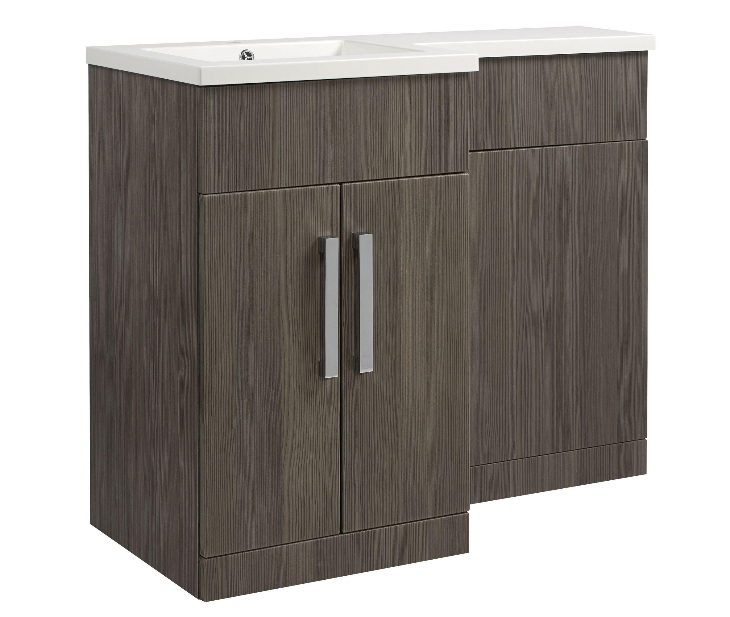 Cooke Lewis Ardesio Woodgrain Effect Bodega Grey Vanity Toilet  # Muebles Cic Bodega