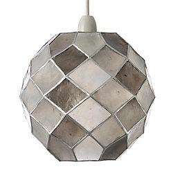 Colours Maringa Capiz Grey Diamond Lamp Shade (D)225mm