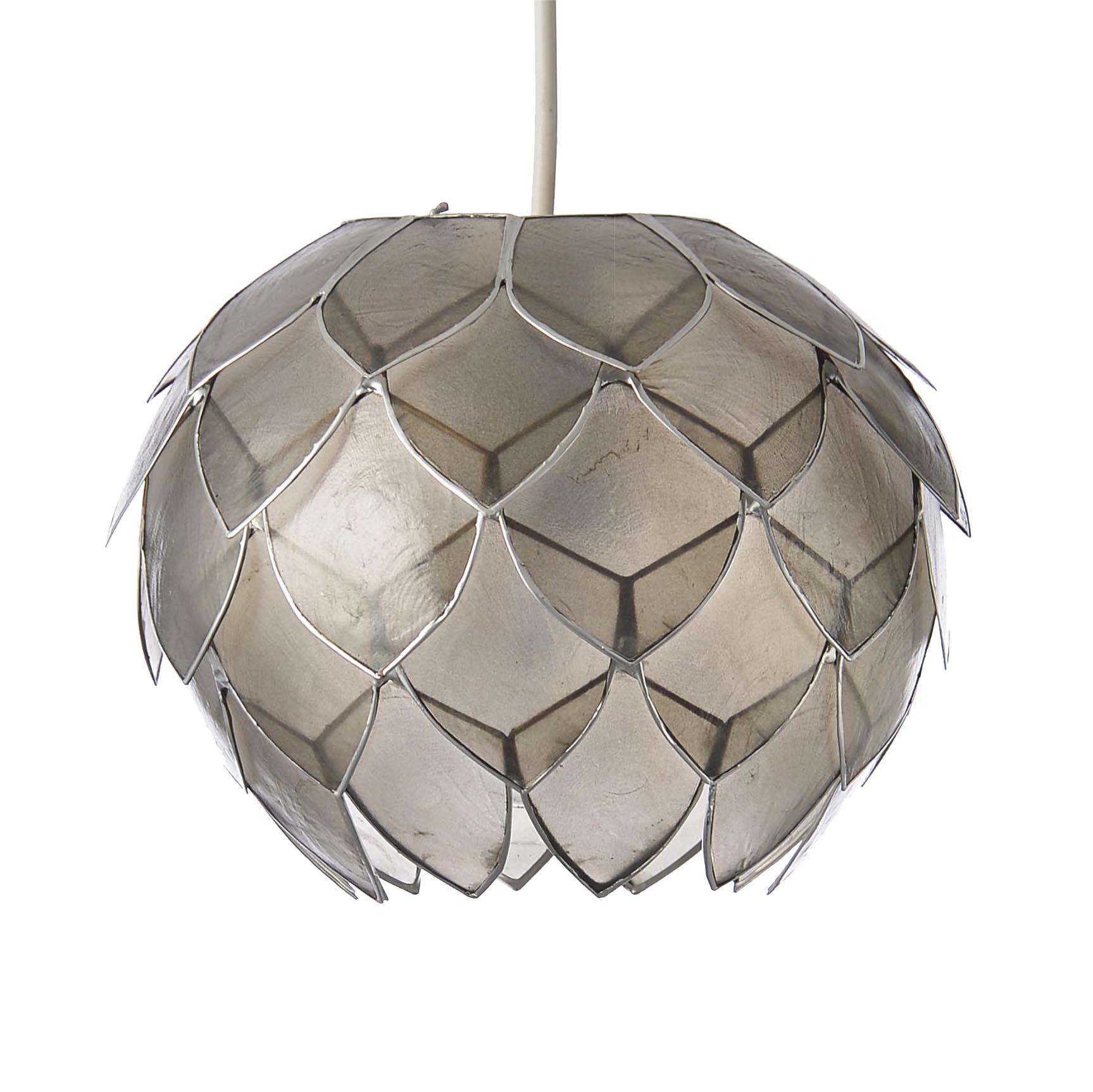 Colours Elvira Capiz Grey Artichoke Lamp Shade D 200mm