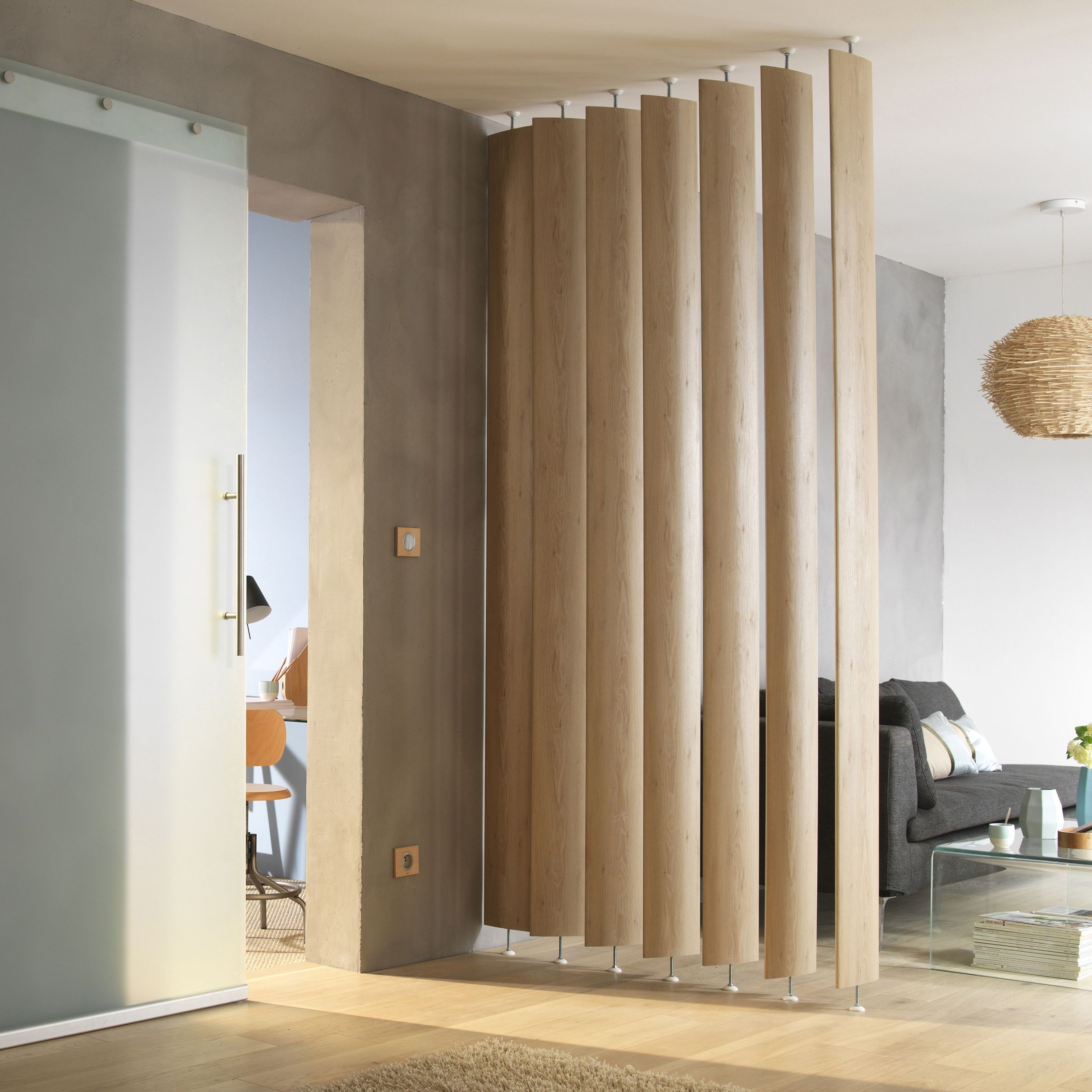 Ella white oak room divider single blade departments for The room partition