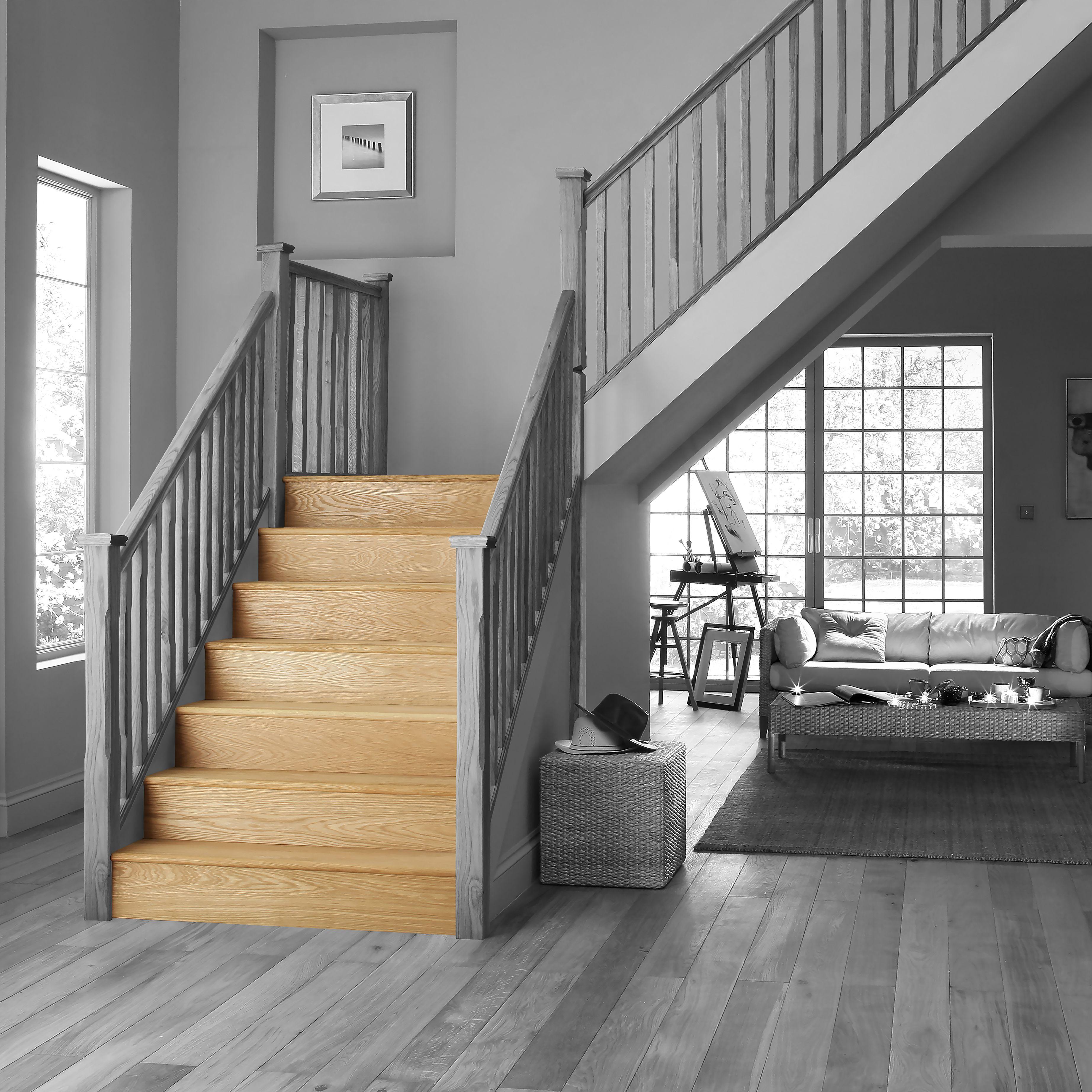 Stair Klad Oak Veneer Stair Flooring Tread Riser Kit | Departments | DIY at  B&Q