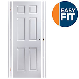 6 Panel Pre-Painted White Unglazed Internal Door Kit,