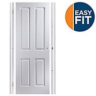 4 Panel Pre-painted White Unglazed Internal Door kit, For opening sizes (W)683-695mm (H)1988-1996mm (D)35mm