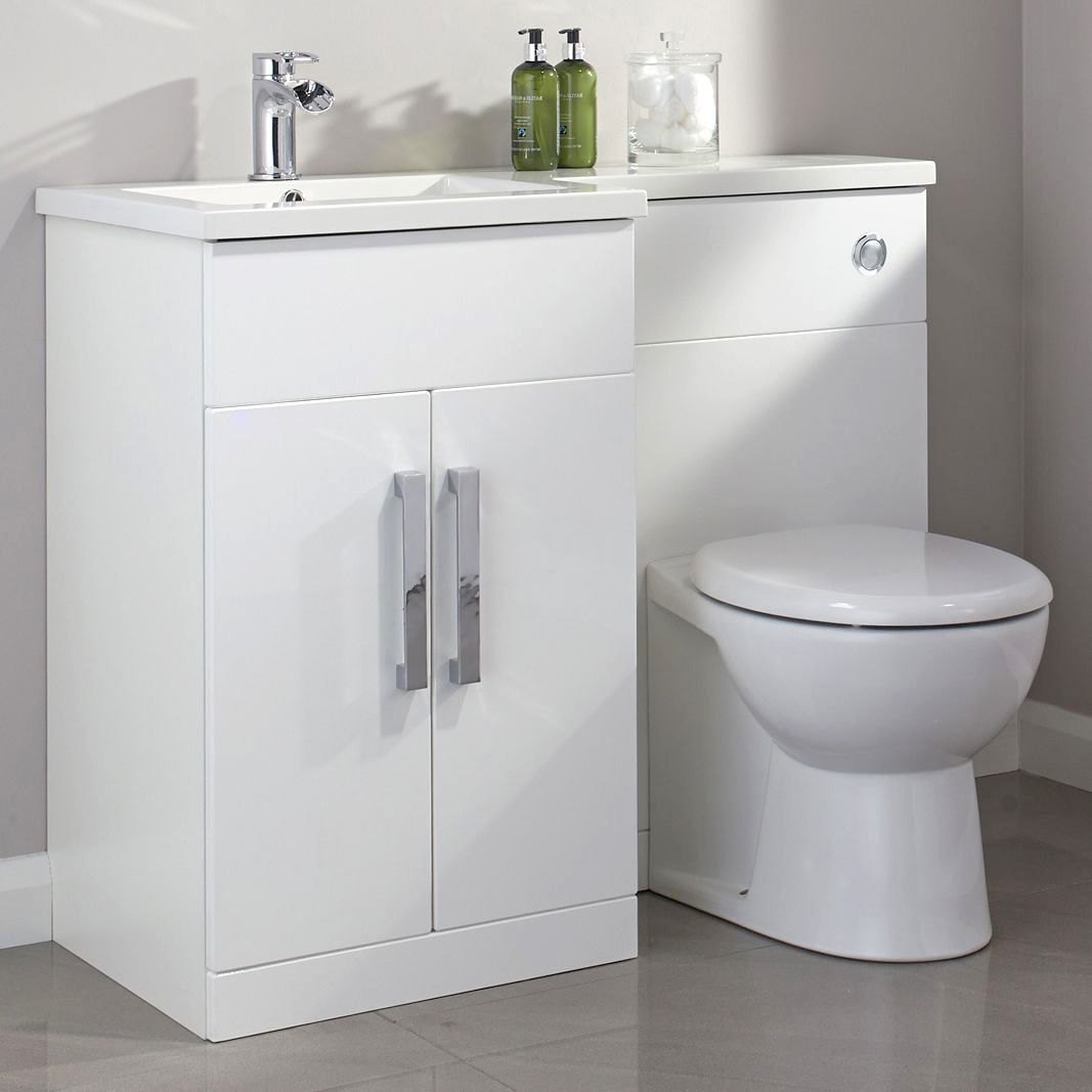 Cooke lewis ardesio gloss white lh vanity toilet pack for Bathroom ideas b q