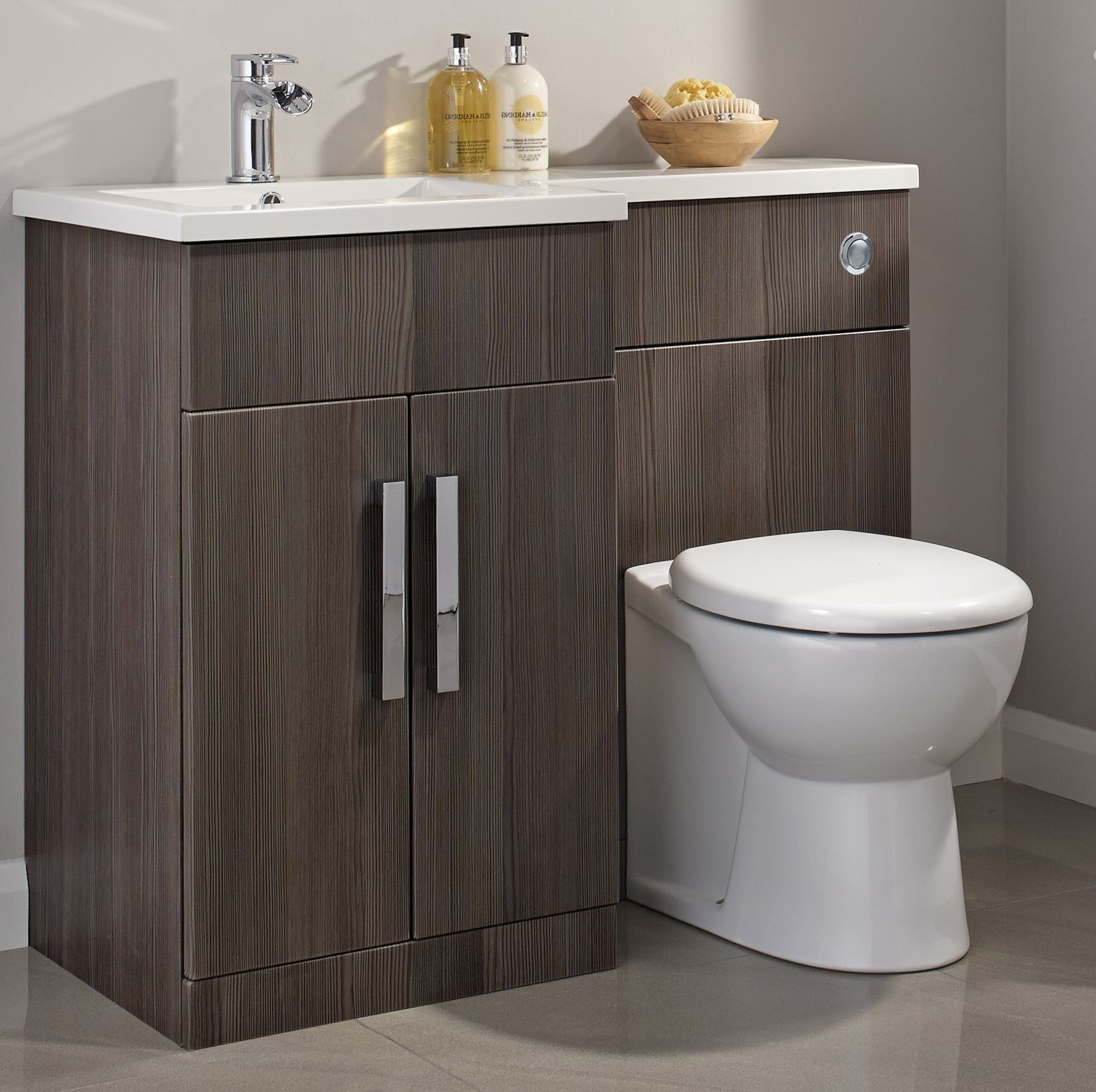 Cooke lewis ardesio bodega grey lh vanity toilet pack for Grey bathroom cupboard